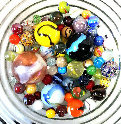 MARBLES - RANDOM  UNIQUE Set Of 70+  MIXED  In 8 Sizes • 11.95£
