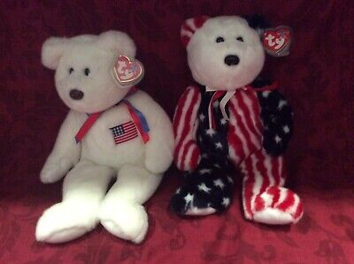 Ty Libearty & Spangles Beanie Buddies With Protected Swing Tags • 30£