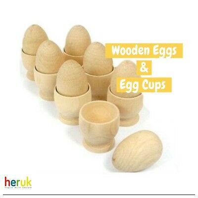 Play Wooden Eggs And Wooden Egg Cups Set Of 6 Montessori  • 10.95£