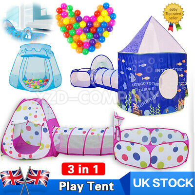 3 In 1 Play Tent House Tunnel Baby Kids Ball Pit Pool Indoor Outdoor Playground • 21.99£