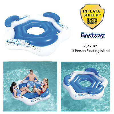 Bestway 75  X 70  Inflatable 3 Persons Swimming Pool Beach Floating Island Raft  • 29.98£
