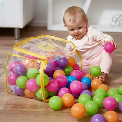 Vinsani Multicoloured Soft Plastic Play Pit Balls With Clear PVC Carry Bag • 24.99£
