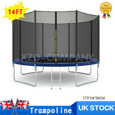 14FT Outdoor Trampoline Accessory With Safety Net Enclosure Padding Ladder UK  • 219.99£