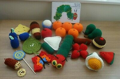 The Very Hungry Caterpillar Story Sack Knit Food EYFS KSI Crochet Props Toys • 35£