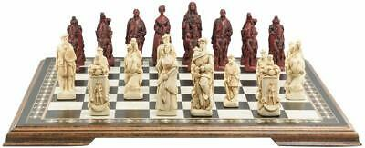 SAC Battle Of Cullodin Ivory&Red Chess Set ,Wooden Board Included.UK Made. • 285£