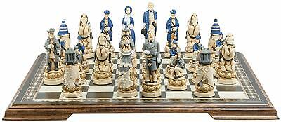 SAC  American Civil War Chess Set ,Hand Painted With Wooden Board UK Made. • 385£