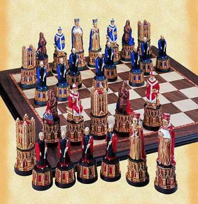 SAC A185S Hand Painted Canterbury Cathedral Themed Chess Pieces.Without Board. • 175.50£