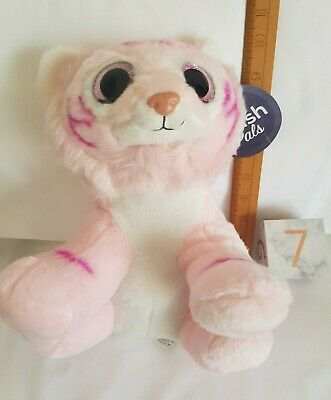 BNWT PINK KITTEN TIGER CAT - TEDDY - Glittery Eyes - Plush Soft Toy New With Tag • 3.49£