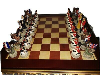 Waterloo Hand Painted Chess Set With Ornate Storage Board 3  K  Nelson Napoleon  • 50£