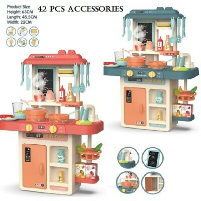 Kids Play Kitchen With Realistic Lights & Sounds,Spraying Mist Sink,42 Pcs, 3 Y+ • 29.99£