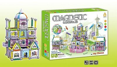 206 Pcs 3D Magnetic Educational Learning Building Toy Tiles With Music,Lights • 16.99£