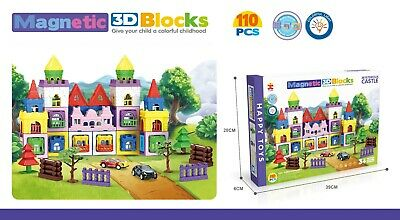 110 Pcs 3D Magnetic Educational Learning Building CASTLE Toy Colourful Blocks  • 13.99£