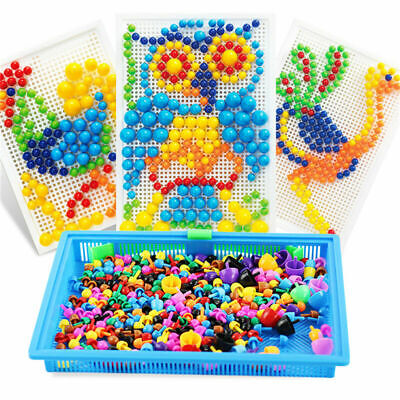 Children Kids Puzzle Peg Board With 296 Pegs Educational Toys Creative Gifts NEW • 7.49£