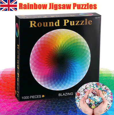 1000PCS Round Rainbow Palette Jigsaw Puzzles Adult Kids Educational Puzzle Gift • 9.98£