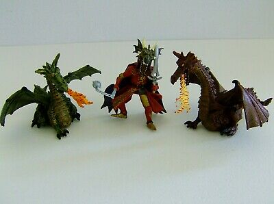 Papo Green & Red Dragons With Dragon Head Knight Figure • 19.99£