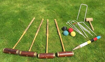 Set Of 4 Vintage Jaques Of London Croquet Mallets Uk British Lawn Game • 100£