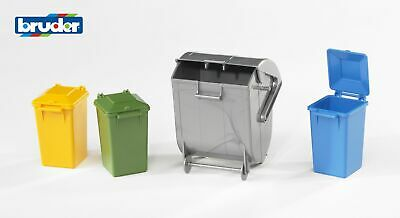 Garbage Can Set Dust Bins - Bruder 02607 Scale 1:16 NEW • 12.50£