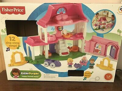 Fisher Price Little People Pink House Happy Sounds Home + Figures • 7.40£