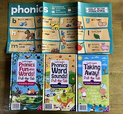 Set Of 3 Pull The Tab Books, Phonics And Subtraction, + Phonics Poster, KS1 • 3£