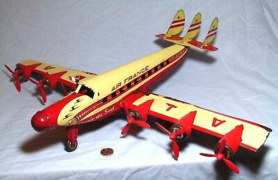 VERY LARGE TIN PLATE TOY FRICTION PASSENGER PLANE AIRCRAFT JOUSTRA 597 MM Ref501 • 199.99£