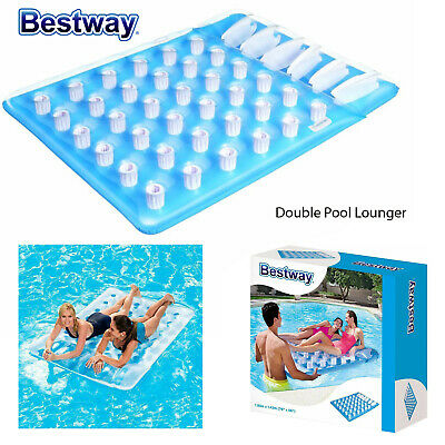 Bestway Inflatable Double Swimming Pool Lounger Beach Float Mattress Bed Lilo • 26.98£
