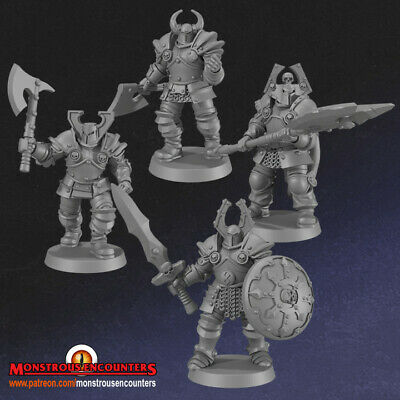 Chaotic Warriors X4 Compatible With Mordheim,AoS, Warhammer,D&D & RPG • 8£