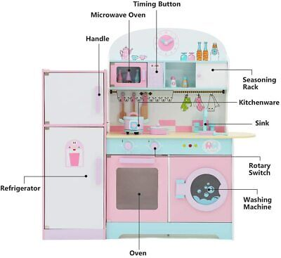 Multiple Kids Play Kitchen With Fridge, Large Children's Role Play Pretend • 57.94£