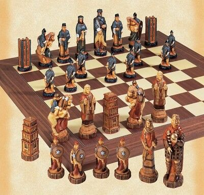 SAC A157S Hand Painted Battle Of Hastings Chess Set .NEW.Wooden Board Included. • 185£