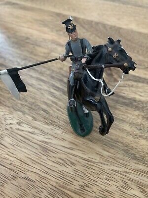 Metal Toy Soldier On Rearing Horse Mounted On Base • 3.20£