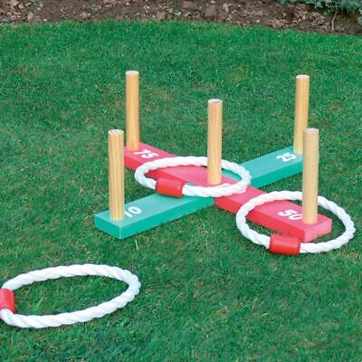 Kingfisher Wooden Garden Indoor Outdoor Quoits Family Pegs And Rope Hoopla Game • 6.99£