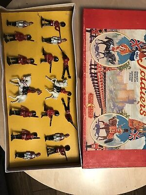 CRESCENT TOYS SOLDIERS C1950s WITH BOX! 16 MODELS INCL TWO HORSES VERY RARE!! • 119£