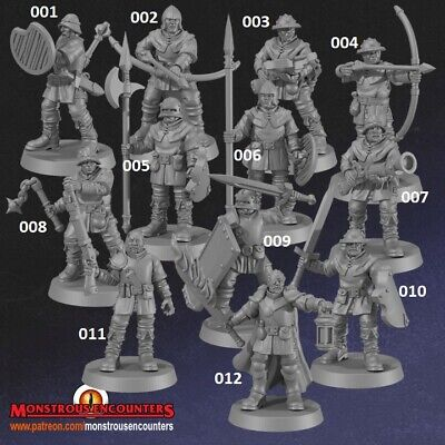 Town Guards Compatible With Hero Quest, Mordheim, AoS,  Warhammer, D&D & RPG • 20£