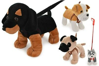 Standing Dogs On Lead Plush Medium Stuffed Teddy Soft Toy Kids Toddler Toy  • 8.50£