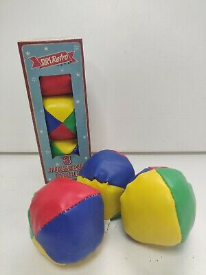 Juggling Balls Circus Clown Coloured Learn Juggle Toy Game Soft Balls Superretro • 8.24£