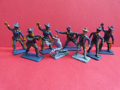 VINTAGE CRESCENT X8 COWBOYS TOY SOLDIERS * RARE  * 1950s/60s • 7.99£