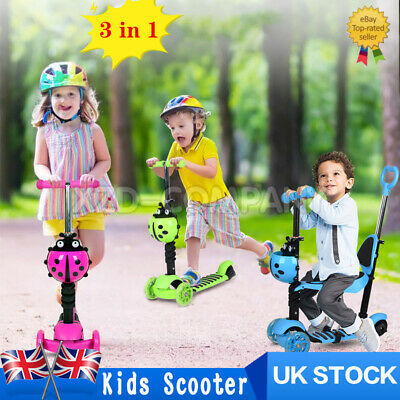 Kids Kick Push Scooter 3-in-1 Flashing Wheels Adjustable Outdoor Gift For Child • 24.99£