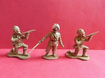 VINTAGE CRESCENT INDIAN ARMY X3 TOY SOLDIERS * 1950s/60s * RARE • 14.99£