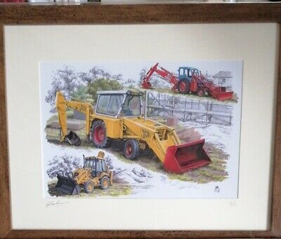JCB 3cx 3c Major Loader Diggers Picture Print History Of Company Rare 1 Of 250. • 80£