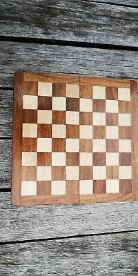 Wooden Chess Board, With Wooden Pieces And Brass Catches  • 7.50£