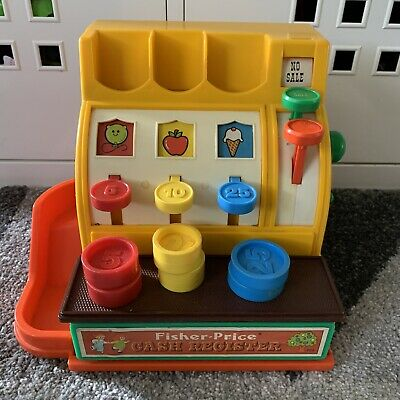 Vintage 1974 Fisher Price Cash Register / Till With All Coins Fully Working • 18£