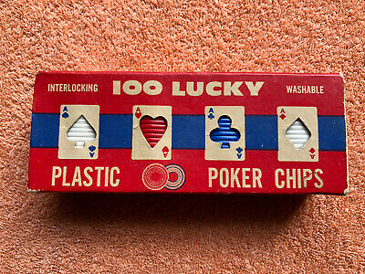 100 Lucky Plastic Poker Chips Vintage American • 10£