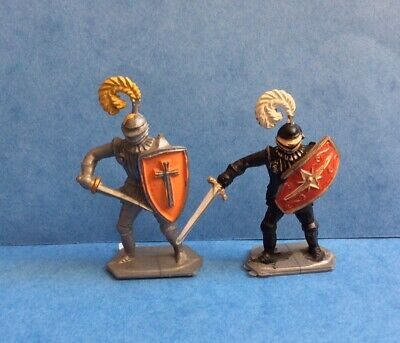 VINTAGE LONE STAR MEDIEVAL KNIGHTS X2 TOY SOLDIERS 1950s RARE • 5.99£