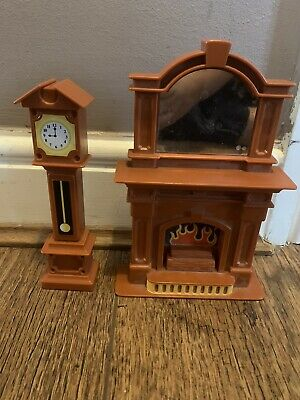 Vintage Little Tikes Dolls House Grand Mansion - Fireplace And Grandfather Clock • 19.99£