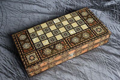 Large Vintage Inlaid Marquetry Mosaic Backgammon & Chess Board  • 25£