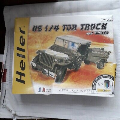 Hellier 1/72nd Scale  Jeep And Trailer  Scale Model Plastic Construction Kit • 0.99£