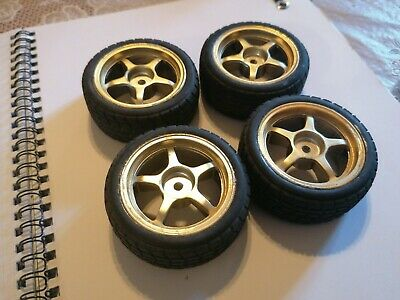 Set Of 4 Gold Alloy Wheels 1/10 RC Standard 12mm Hex With Rally Tyres • 5.20£