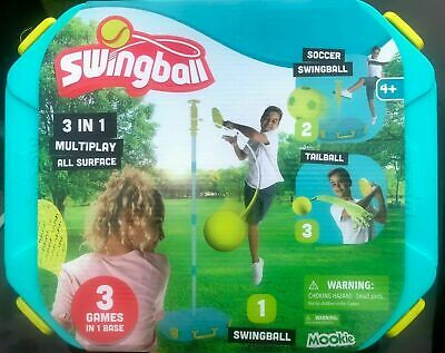 Mookie Swingball All Surface 3 In 1 Tennis, Tailball & Football With Carry Case • 39.99£