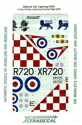 1/48 EE Lightning Decals Xtradecal F.3 And F.6 • 3.30£