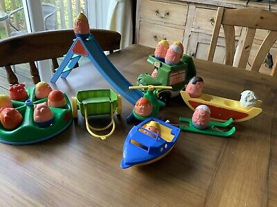 Weebles X 16  Vintage Toy Bundle Swing Slide Helicopter Seesaw Speed Boat Bus • 5£