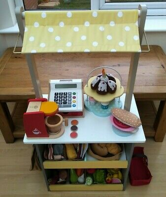 Wooden Play Shop / Market / Cafe With Fabric And Wooden Play Food, Till, Etc • 80£
